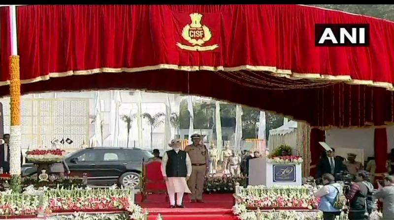 Prime Minister Narendra Modi addressed the 50th raising day of the Central Industrial Security Force as the Chief Guest. (Photo: Twitter/ANI)