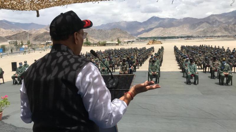 Defence minister Rajnath Singh addresses the ITBP personnel in Ladakh on Friday. — DC Photo