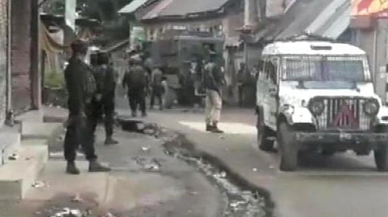 Two terrorist were killed in an encounter which broke out between terrorists and security forces in Shopian district of Jammu and Kashmir on early hours of Saturday. (Photo: Twitter/ ANI)