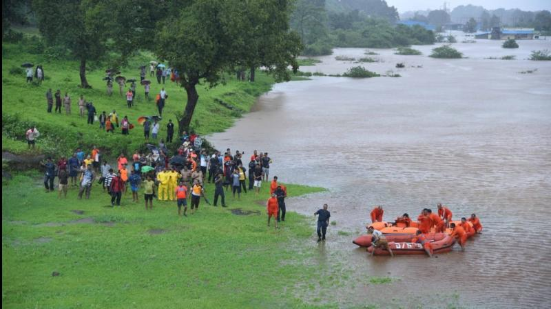 Eight flood rescue teams from Navy including three diving teams have been mobilised with rescue material, inflatable boats and life jackets. (Photo: Twitter/ ANI)