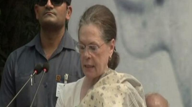 Sonia concluded by saying that the Congress party has been following Mahatma Gandhi's path and it will continue to do so in the future.  (Photo: ANI)