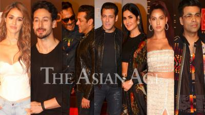 On Tuesday night, Salman Khan arranged a special premiere show of his Eid release, Bharat at PVR Lower Parel in Mumbai. Bollywood celebrities like Karan Johar, Tiger Shroff, Tabu, Disha Patani, Nora Fatehi, Kriti Sanon, Tara Sutaria, Ananya Panday, Zaheer Iqbal and others made stylish appearance at Bharat premiere. (Photos: Viral Bhayani)
