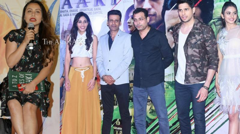 Trailers of Rani Mukerji's comeback film 'Hichki' and Neeraj Pandey's 'Aiyaary' were launched by the cast in Mumbai on Tuesday. (Photo: Viral Bhayani)