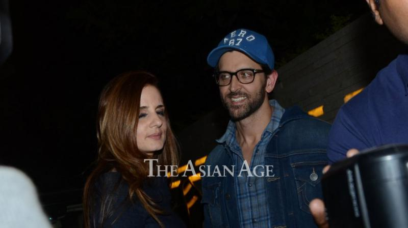 Sussanne Khan was snapped by shutterbugs as she watched her ex husband Hrithik Roshan's film 'Kaabil' on Saturday. (Photo: Viral Bhayani)