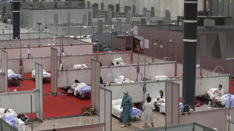 A general view of a temporary field hospital set at Ifema convention and exhibition in Madrid, Spain. AP photo
