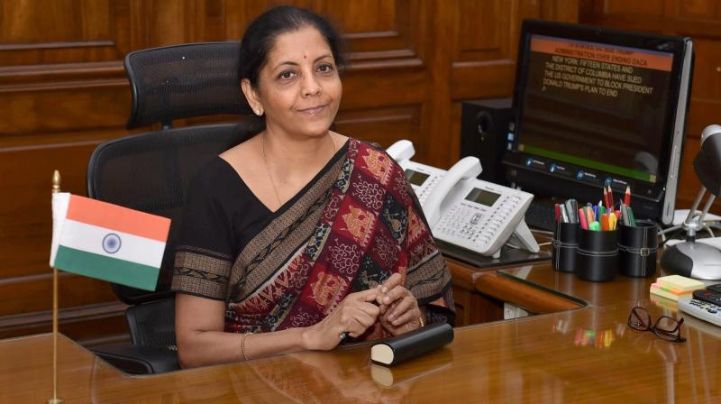 Defence Minister Nirmala Sitharaman after taking charge at her office in New Delhi, becoming the first full-time woman Defence Minister of the country. (Photo: PTI)