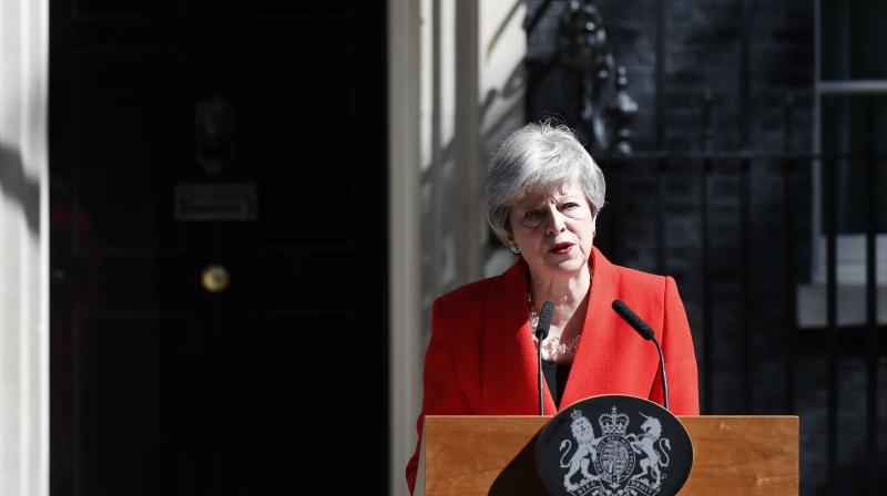 British Prime Minister Theresa May made the announcement about her deparure. (Photo:AP)