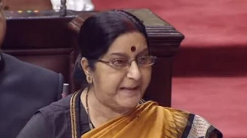 Addressing the Rajya Sabha, Sushma Swaraj said, 'The family wished to meet Jadhav and we arranged for it. Even Pakistan agreed for it this month. This could have been a step forward for both countries, but that wasn't to be.' (Photo: ANI   Twitter)