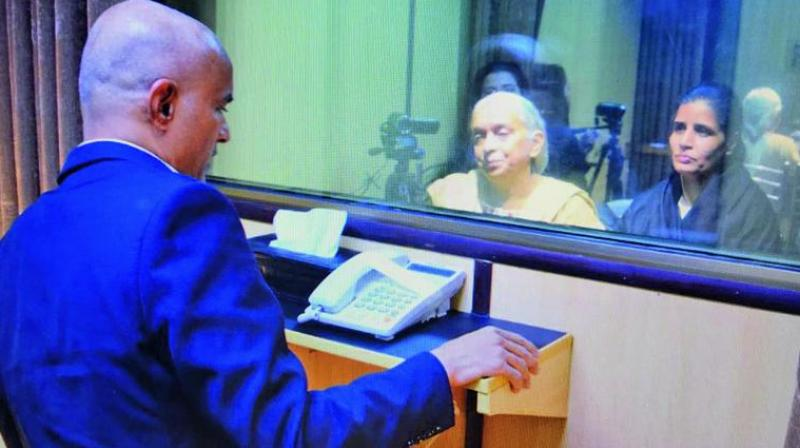 Jadhav's mother Avanti and wife Chetna met him face-to-face in Islamabad after 22 months of his captivity.  (Photo: ANI | Twitter)