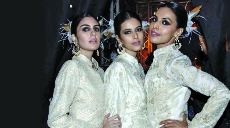 Models at Raghavendra Rathore's fashion show this year.
