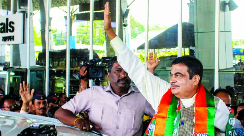 BJP candidate Nitin Gadkari in Nagpur. (Photo: PTI)