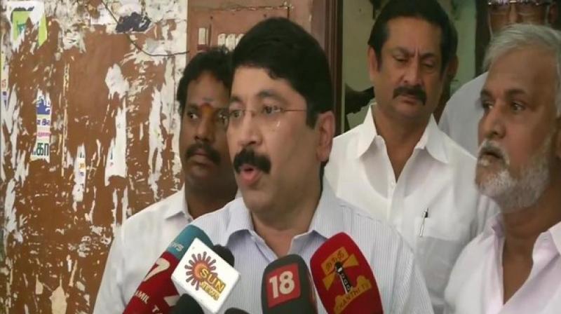 'Edappadi K Palaniswami must take moral responsibility for the defeat of AIADMK in Lok Sabha elections,' DMK leader and MP Dayanidhi Maran said. (Photo: ANI)