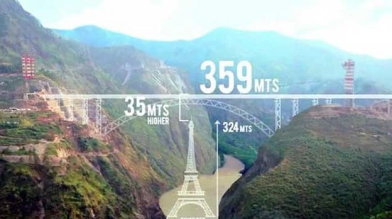 The Chenab Railway bridge will stand 35 metres taller than the iconic Eiffel Tower in Paris. (Photo: RailMinIndia | Twitter)