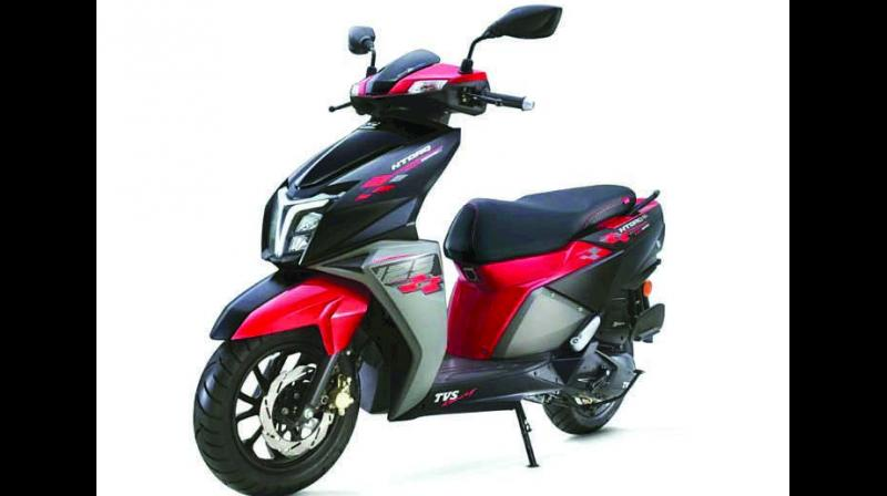 The scooter comes in a splendid three-tone combination of matte black, metallic black and metallic red colour.