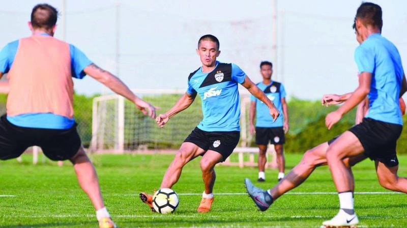 BFC Captain Sunil Chhetri practices alongwith his team mates