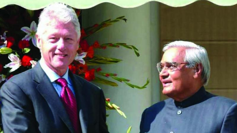 A file photo of Atal Behari Vajpayee with US President Bill Clinton