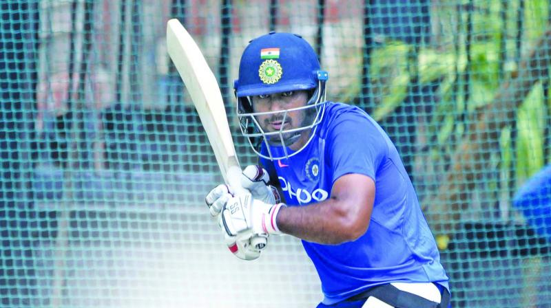 Ambati Rayudu during a training session in Hyderabad on Friday. (Photo: S. Surender Reddy)