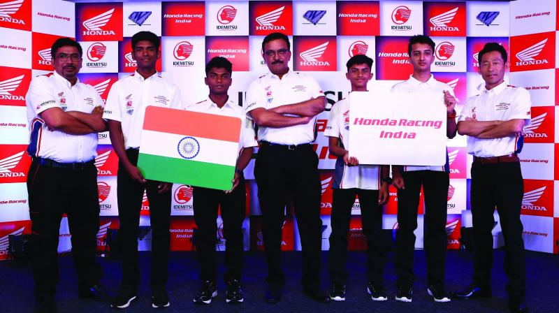 Idemitsu Honda Racing India team at the unveiling of their new line-up for the 2019 season on Friday.