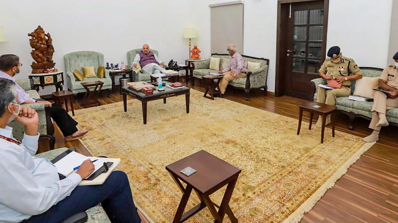 Union Home Minister Amit Shah holds a review meeting on Chhattisgarh Naxal attack, in New Delhi on Sunday, April 4, 2021. (PTI)
