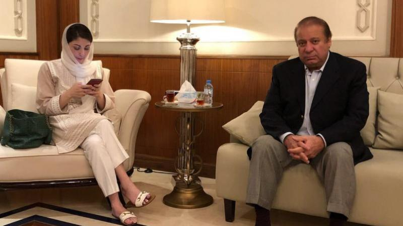 Nawaz Sharif and his daughter Maryam Nawaz (Photo: File/Twitter)