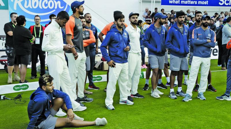 Team India members look dejected during the  post-match ceremony. (Photo: AP)