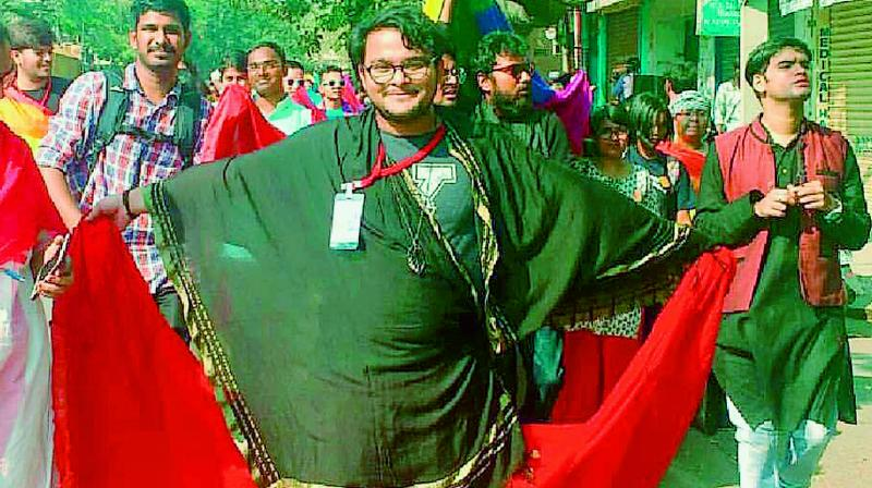 Sagnik Puri, who identifies as a Trans, during a pride parade in the city
