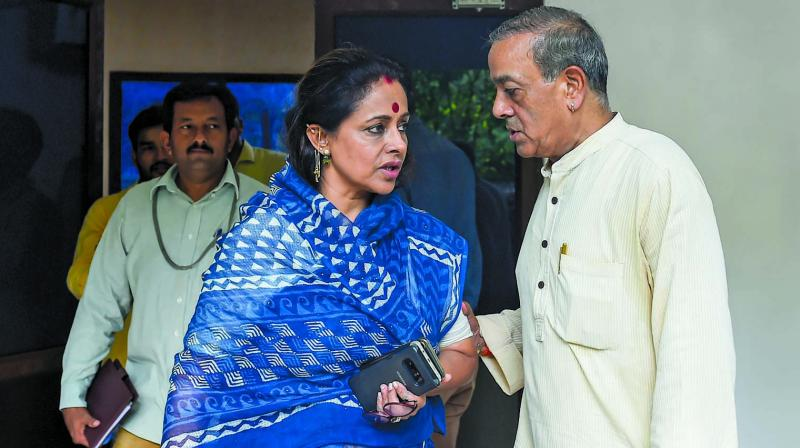 Sanjay Sinh, who resigned from the Rajya Sabha as well as the Congress, with his wife Ameeta Sinh at his  residence in New Delhi on Tuesday. (Photo: PTI)