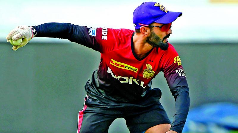 Dinesh Karthik is the captain of IPL franchise Kolkata Knight Riders but being seen in a Trinbago Jersey, while watching the match from the dressing room, prompted the BCCI to issue a show-cause notice. (Photo: PTI)