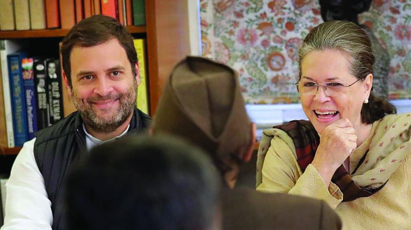 Congress chief Sonia Gandhi and party vice-president Rahul Gandhi at the Congress Working Committee meeting at 10, Janpath in New Delhi. (Photo: PT)