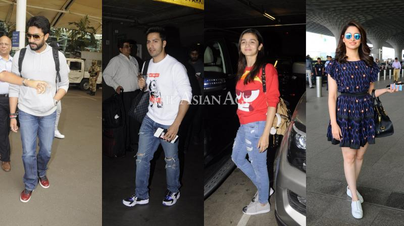 Airport hopping Bollywood celebrities, didn't let thier busy schedules bug them down, as they returned to the chaos of the city with glowing faces. (Photo: Viral Bhayani)