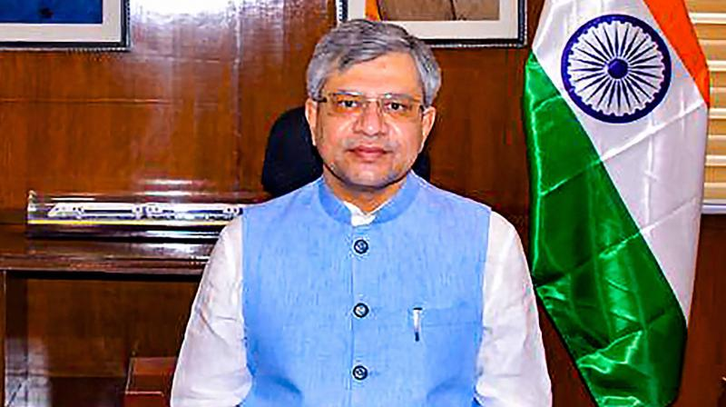 Union Minister for Railways and IT Ashwini Vaishnaw assumes office at Rail Bhawan, in New Delhi, Thursday, July 8, 2021. (PTI Photo)
