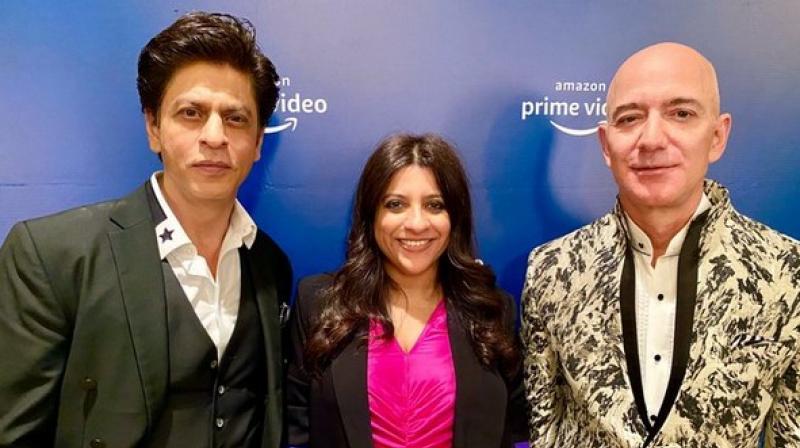 Shah Rukh Khan, Zoya Akhtar and Jeff Bezos. (Photo: Twitter)