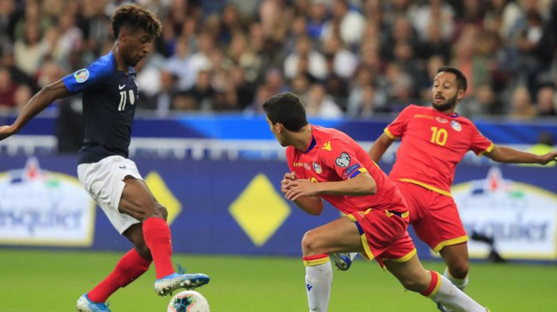 France forward Kingsley Coman grabbed his third goal in two matches as he inspired the hosts to a 3-0 win against Andorra in their Euro 2020 Group H qualifier on Tuesday. (Photo:AP)