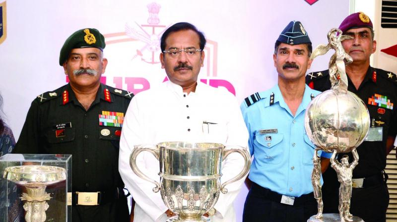 State sports minister Arup Biswas along with three service chiefs of Eastern Command with the trophy in a press meet on Durand Cup 2019 at Fort William on Wednesday. (Photo: Asian age)