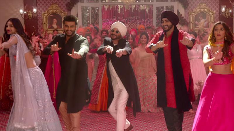 Arjun Kapoor, Athiya Shetty, Anil Kapoor and Ileana D'Cruz in 'Mubarakan.'