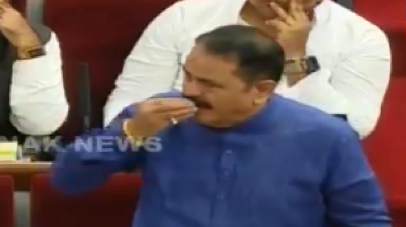The Jeypore MLA, who was the first to ask questions in the House, clarified that he did not mean to insult Patro and that the gesture was a mark of gratitude towards the speaker. (Photo: Screengrab)