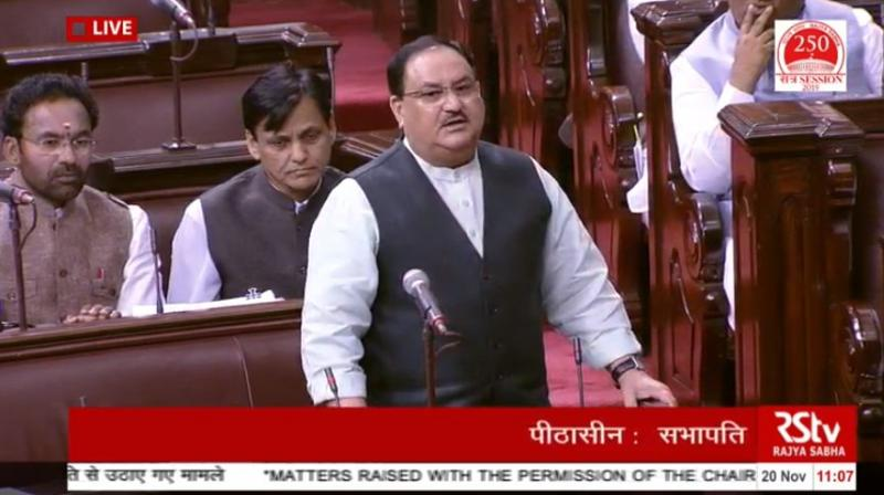 As no other minister responded to the Congress, the ruling Bharatiya Janata Party instead fielded its working president JP Nadda to counter the Congress charge that the decision to strip the Gandhis of their security cover was driven by politics. (Photo: ANI | Twitter)