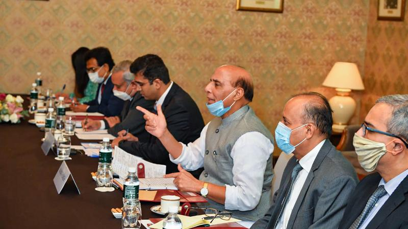 Defence Minister Rajnath Singh during a meeting with the Chinese Defence Minister General Fenghe (unseen), in Moscow