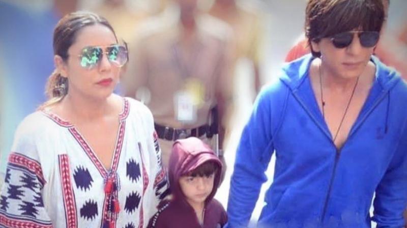 Shah Rukh Khan with wife Gauri Khan and son AbRam. (Photo: Instagram)