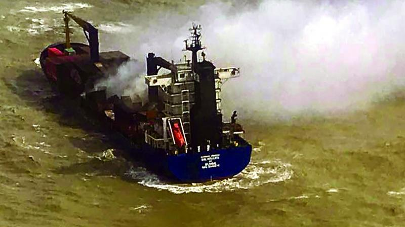 The container ship in which fire brokeout a few days ago at 55 Nautical Miles off the Sagar Island on Saturday