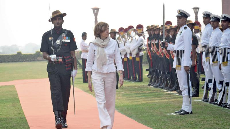 A file image of French defence minister Florence Parly inspects a guard of honour on her arrival at the South Block in New Delhi. (Age photo: Sondeep Shankar)