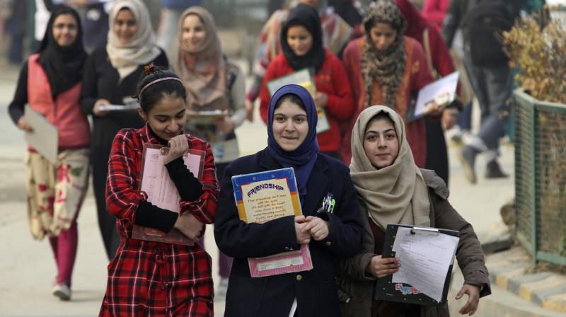 Kashmiri students leave an examination center, in Srinagar, Indian controlled Kashmir. (Photo: PTI)