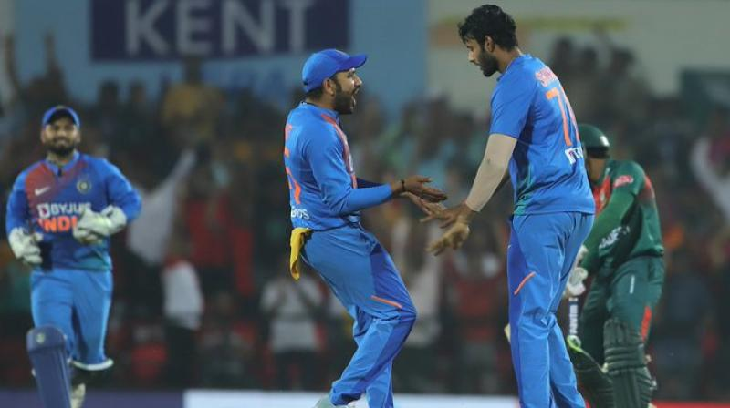 The lanky all-rounder from Mumbai, Shivam Dube, has so far played three T20 Internationals, all against Bangladesh, registering best figures of 3 for 30. (Photo: BCCI)