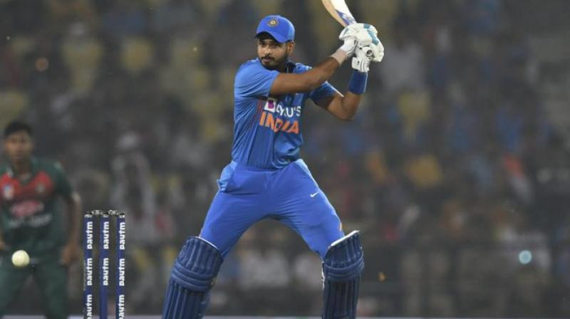 India batsman Shreyas Iyer on Sunday registered his maiden half-century in the T20I format against Bangladesh. He went on to play a knock of 62 runs off just 33 balls. (Photo:ICC/Twitter)