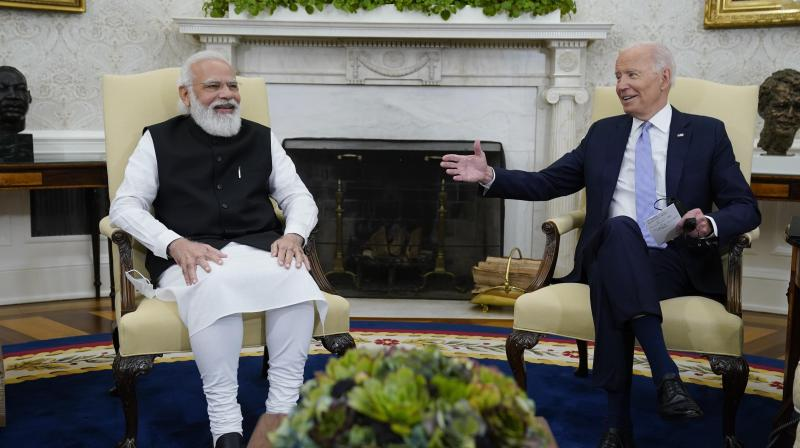 President Joe Biden meets with Indian Prime Minister Narendra Modi in the Oval Office of the White House, Friday, Sept. 24, 2021, in Washington. (AP)