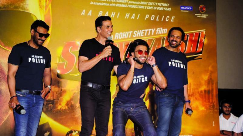 Ajay Devgn, Akshay Kumar, Ranveer Singh and Rohit Shetty at the trailer launch.