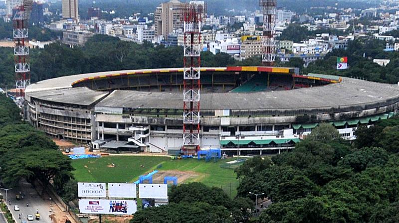 The Chinnaswamy KSCA stadium is one of the two sporting venues being assessed for quarantine accommodation. (DC Photo: Satish B)