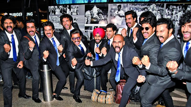 Ranveer Singh, who will be seen as Kapil Dev in Kabir Khan's '83, was spotted at the airport with his 'team' in black suits with blue ties.