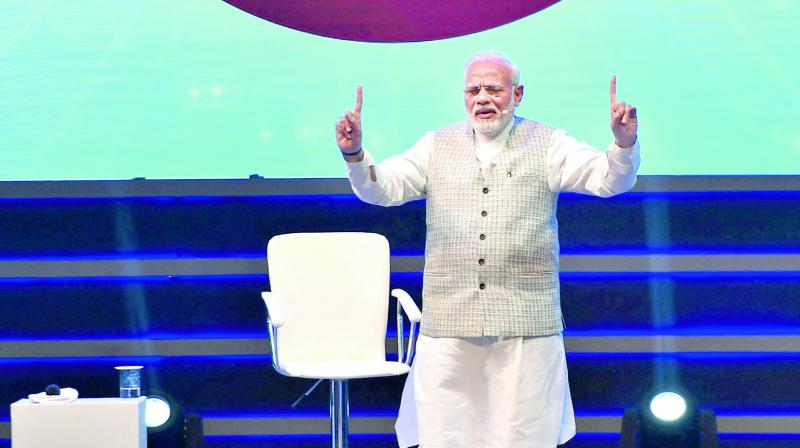 PM Modi speaks during an interactive session with students in New Delhi. (Photo: PTI)