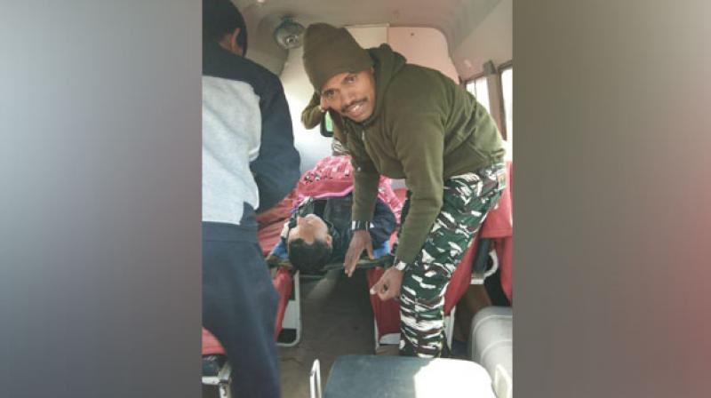 The CRPF personnel Surinder Kumar, who was deployed at the same booth, immediately sought the help of the doctor, Suneem, of his unit. (Photo: ANI)